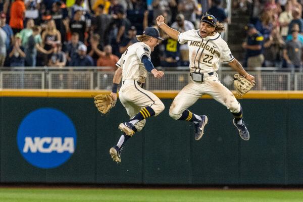 Michigan baseball players celebrate