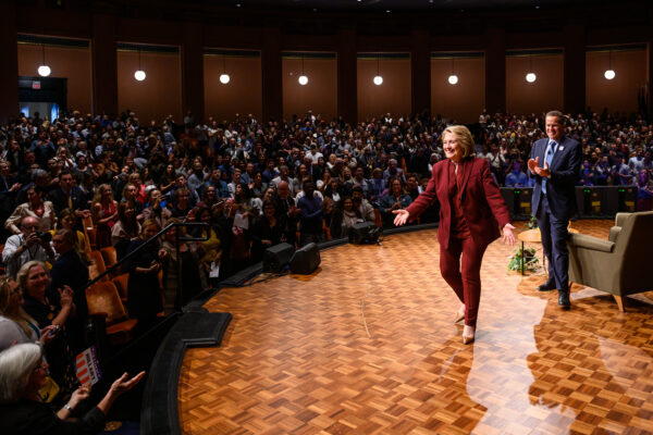 Hillary Rodham Clinton greets the crowd after her lecture at Rackham Auditorium