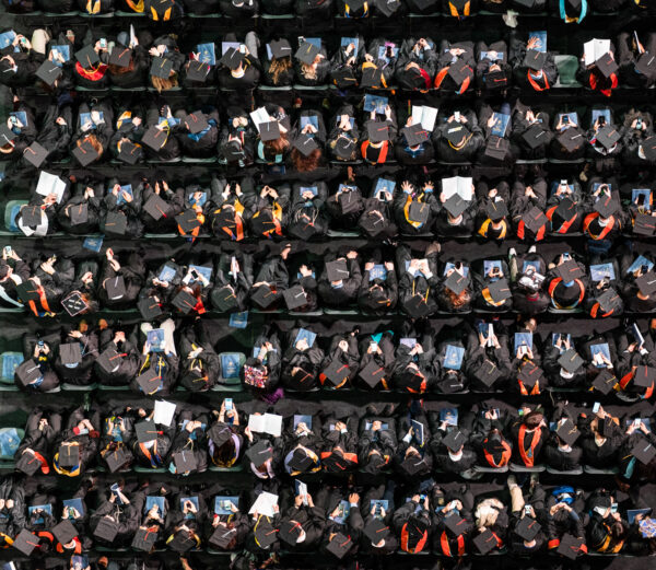 An overhead view of the graduates
