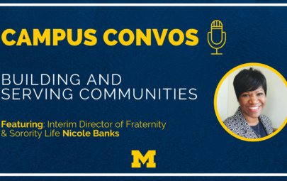 Campus Convos podcast image with Nicole Banks' headshot